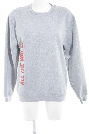 Rad. Sweatshirt hellgrau-rot Schriftzug gedruckt Casual-Look