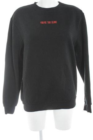 Rad. Sweatshirt schwarz-rot Schriftzug gestickt Casual-Look