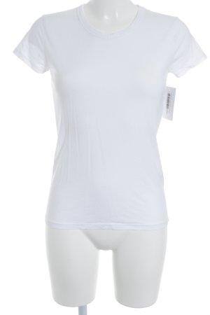 Rad. T-Shirt weiß-magenta Schriftzug gedruckt