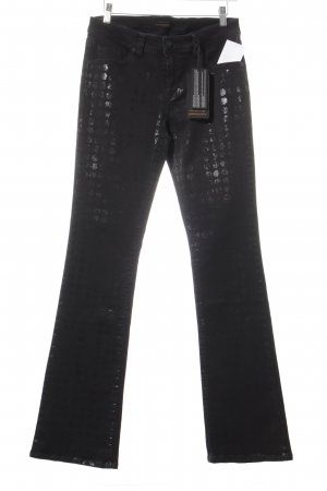 Raffaello Rossi Jeans a zampa d'elefante nero motivo a pallini stile casual