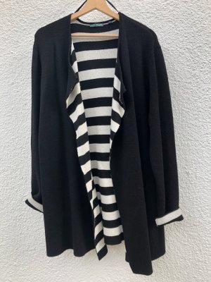 Charles Vögele Cardigan nero-bianco Tessuto misto