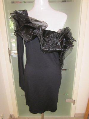 Raffiniertes Abendkleid Asymetrisch Schwarz Gr 42 #Rare London