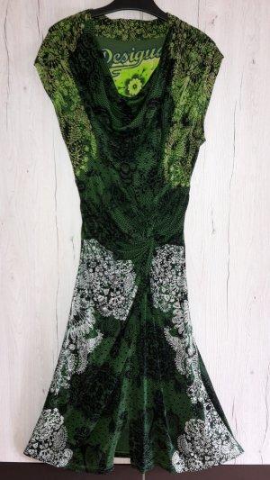 Desigual Vestido de tela de sudadera negro-verde