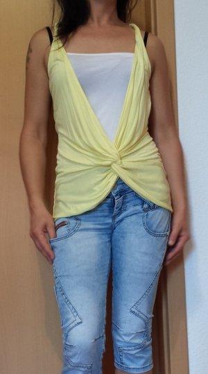 raffiniertes gelb/weißes Top von Jane Norman, Gr. 38