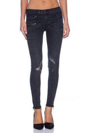 RAG & Bone Jeans Denim Röhre Skinny Grau Reißverschlüsse Zips Top