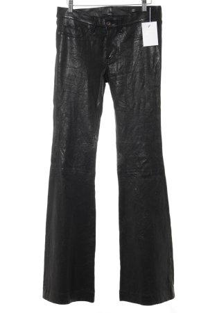 Rag & bone Pantalón de cuero negro estilo extravagante