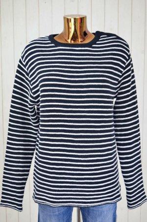RAGDOLL Damen Pullover Strick-Pullover Gestreift Schwarz Weiß Strick Gr.M