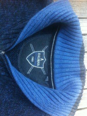 Long Sweater dark blue-steel blue mixture fibre
