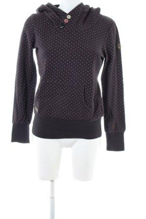Ragwear Kapuzenpullover schwarz-pink Allover-Druck Casual-Look
