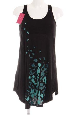 Ragwear Minikleid schwarz-mint abstrakter Druck Casual-Look