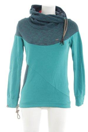 Ragwear Sweatshirt türkis-hellgrau meliert sportlicher Stil