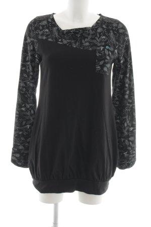 Ragwear Sweatshirt schwarz-hellgrau Blumenmuster Casual-Look