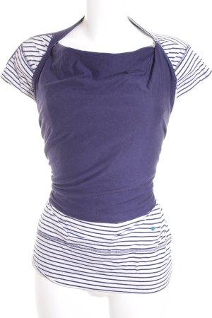 Ragwear T-Shirt dunkelblau-weiß Streifenmuster Wickel-Look