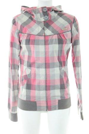Ragwear Übergangsjacke pink-hellgrau Karomuster Casual-Look