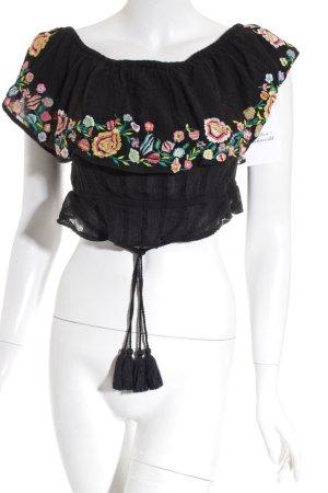 RahiCali schulterfreies Top schwarz florales Muster Boho-Look