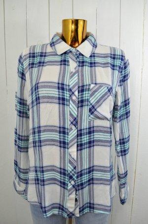 RAILS Damen Hemd Bluse Karo Mod. HUNTER Weiß Dunkelblau Mint Western Style Gr. M