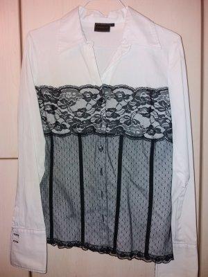 RAINBOW * Bluse * V – Ausschnitt * Spitze * schwarz weiß * Größe 38