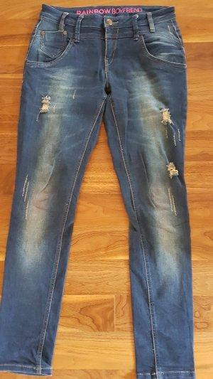 Rainbow Boyfriend Jeans destroyed
