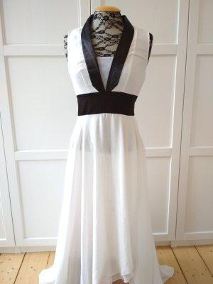 Rainbow Maxikleid Gr. 36 Strandkleid weiß schwarz Sommerkleid Chiffonkleid
