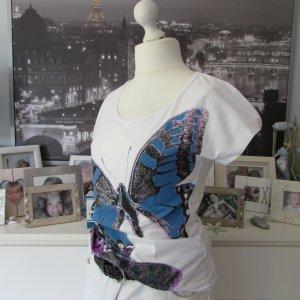 Rainbow * %Summer Sale% Süßes T-Shirt * weiß lila-blau Schmetterlinge * 40/42