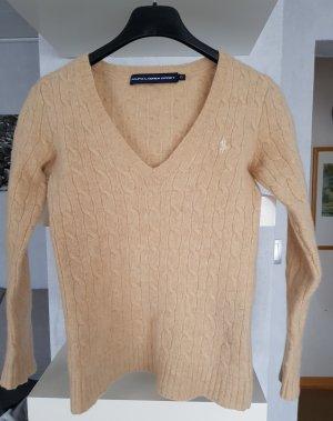 Ralpf Lauren Strick V-Pullover 100% Lammwolle Zopfmuster beige XXS-XS