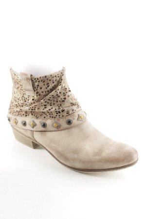 Ralph Harrison Reißverschluss-Stiefeletten beige-hellbraun Lochstrickmuster