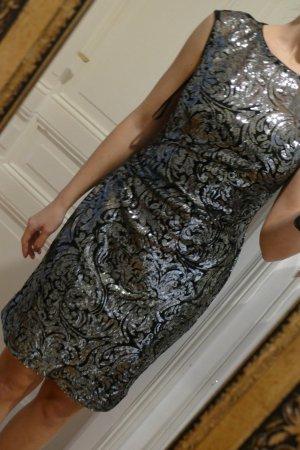 Ralph Lauren 36 S Abendkleid mit Pailletten Schwarz Silber Neu mit Etikett