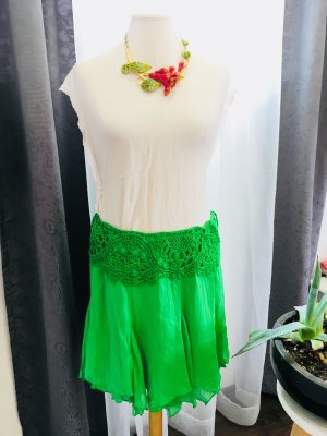Ralph Lauren Fringed Skirt green silk