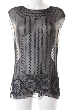 Ralph Lauren ärmellose Bluse schwarz Perlenverzierung