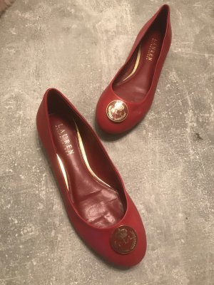 Ralph Lauren Bailarinas con tacón Mary Jane rojo