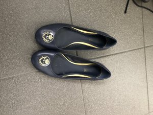 Ralph Lauren Ballerinas Navy Gold