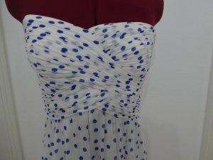 Ralph Lauren Bandeau Kleid gepunktet NEU weiß blau Sommer 34 XS
