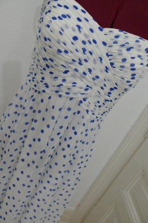 Ralph Lauren Bandeau Kleid inkl Spaghettiträger gepunktet NEU weiß blau Sommer 36 S lang Ballkleid Abendkleid