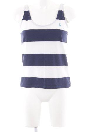 Ralph Lauren Basic Top weiß-dunkelblau Streifenmuster sportlicher Stil