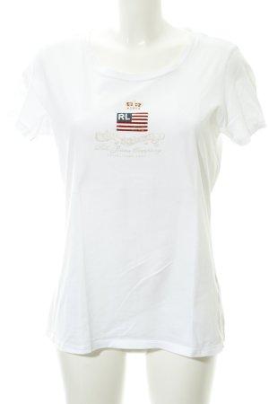 Ralph Lauren Basic Top weiß Schriftzug gedruckt Casual-Look
