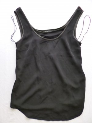 Ralph Lauren Black Label, Seiden-Top, Leder, schwarz, 38, neu, € 650,-