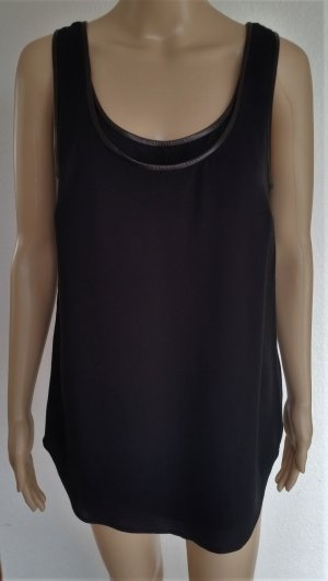 Ralph Lauren Black Label, Top, schwarz, Seide/Leder, 38 (US 8), neu, € 690,-