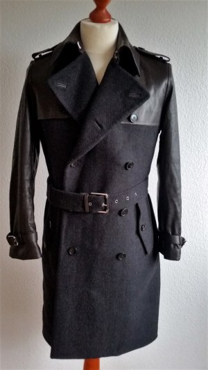Ralph Lauren Black Label, Trenchcoat, Wolle/Leder, anthrazit/dunkelbraun, 38 (US 8), neuwertig, € 5.000,-