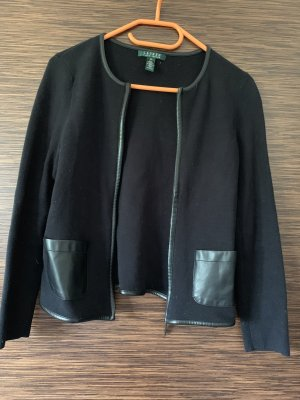 Lauren by Ralph Lauren Knitted Blazer black cotton