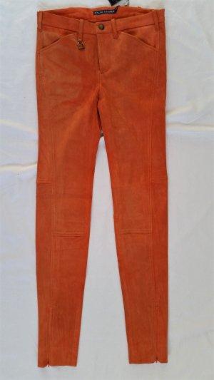 Ralph Lauren Blue Label, Hose, Veloursleder, orange, 34, neu, € 1.200,-