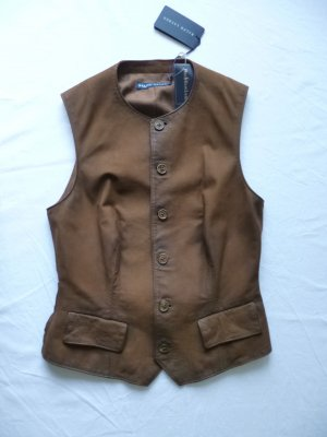 Ralph Lauren Blue Label, Lederweste, braun, Gr 34 (US 4), neu, € 690, -