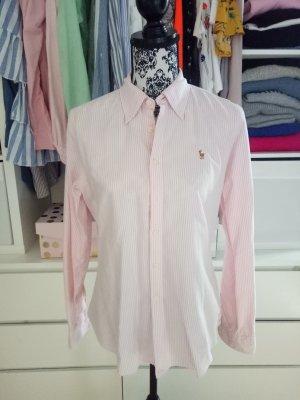 Ralph Lauren Bluse Hemd gestreift Weiß Business Rosa 10 38 40