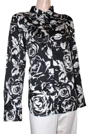 RALPH LAUREN Bluse langarm weiß schwarz Rosen Gr. 44