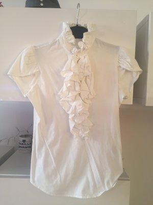 Ralph Lauren Bluse Shirt weiß Rüschen Gr M