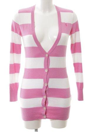 Ralph Lauren Cardigan pink-weiß Streifenmuster Casual-Look