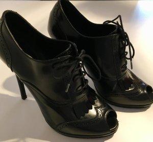 Ralph Lauren Peep Toe Booties black leather