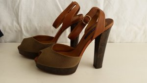 Ralph Lauren Collection, Pumps, Canvas/Leder, olive/cognac, EU 39, neu
