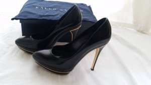Ralph Lauren Collection, Pumps,Leder, schwarz/gold, Gr. 39,5, neuwertig