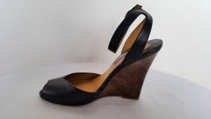 Ralph Lauren Collection, Pumps, Leder, schwarz, Keilabsatz, braun marmoriert,  39, neu, € 650, -