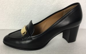 Ralph Lauren Collection, Pumps, schwarz, Goldschnalle, Leder, EU 39, neu, € 650,-